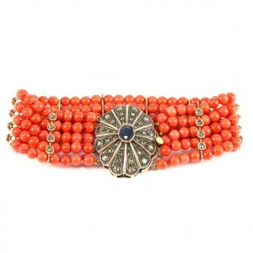 Bracciale multifilo in stile oro, corallo, zaffiro