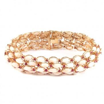 Bracciale a fascia larga oro, corallo rosa e rubini