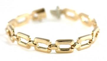Bracciale oro effetto catena rettangolare, in stile - 13,6 gr; 18,5 cm