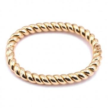 Bracciale oro ritorto ovalizzato rigido