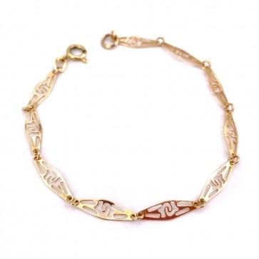 Bracciale catena maglie traforate, oro