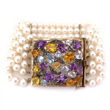 Bracciale multifilo in stile oro, perle, quarzi e diamanti