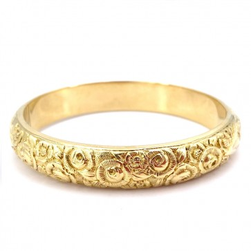 Bracciale bangle a cerchio rigido in oro giallo,