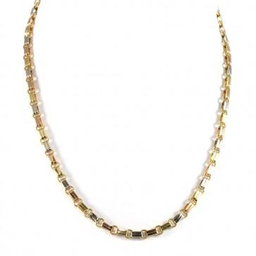 Collana catena uomo oro, barrette a tre colori - 50 cm; 30.84 gr