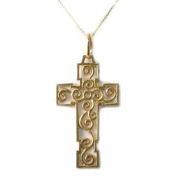 Ciondolo croce in stile, oro traforato