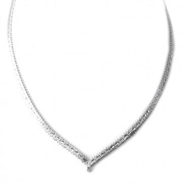 Collana collier girocollo oro bianco e diamante taglio brillante - 0,10-0,12 ct; 45 cm - 27,7 gr.