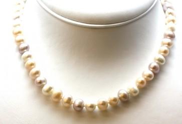 Collana perle multicolor e argento