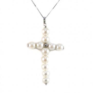 Ciondolo croce oro e  perle
