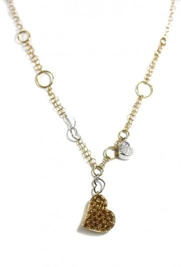 Ciondolo/collana doppio cuore oro, topazi citrini e diamanti - 19,30 gr