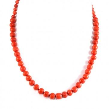 Collana di corallo rosso a scalare e oro
