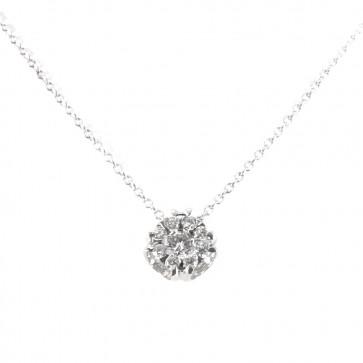Ciondolo punto luce  fiore circolare oro e diamanti