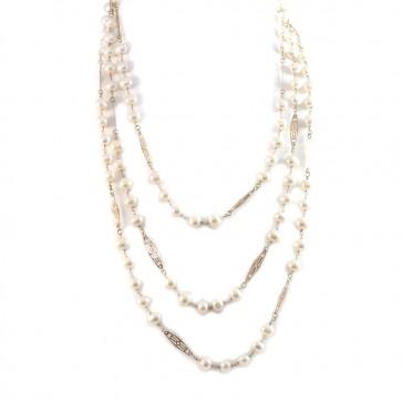 Collana lunga catena d'oro e perle