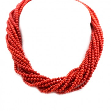 Collana maxi torchon a 12 fili di corallo rosso moro