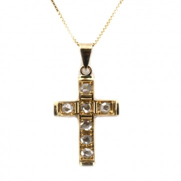 Ciondolo croce in stile oro e diamanti