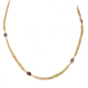 Collana catena multipla oro e ovali ametista