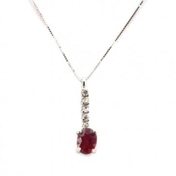 Ciondolo mini fiammifero oro, rubino -0.40 ct- e diamanti