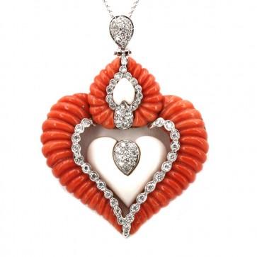 Ciondolo artistico cuore corallo rosso e bianco sagomato