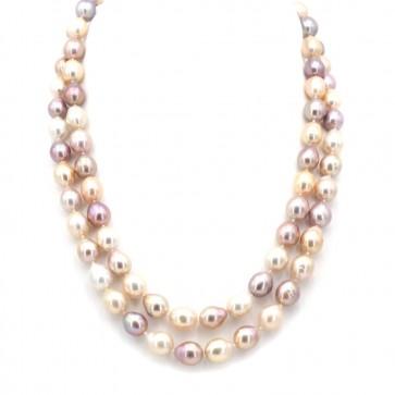 Collana doppio filo di perle multicolor baroccate
