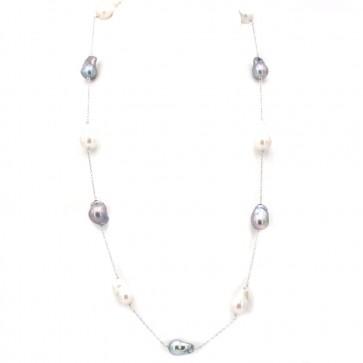 Collana modello catena alternata, oro e perle barocche bianche e nere
