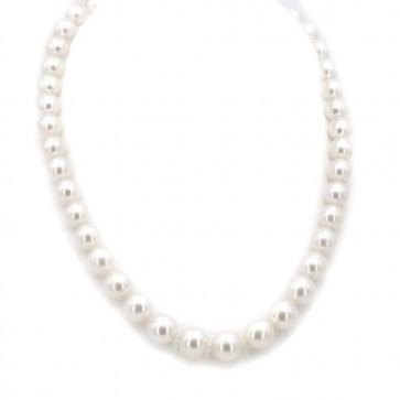 Collana girocollo di perle australiane oro bicolore e diamanti