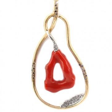 Ciondolo artistico capolavoro oro, ramo corallo rosso