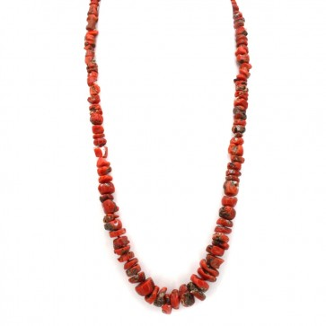 Collana corallo rosso etnico, a scalare 6-17 mm e argento
