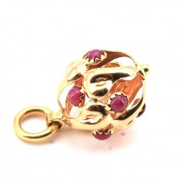 Ciondolo charm in oro e rubini