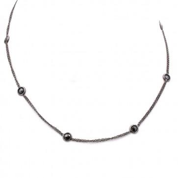 Collana catena oro nero e diamanti neri