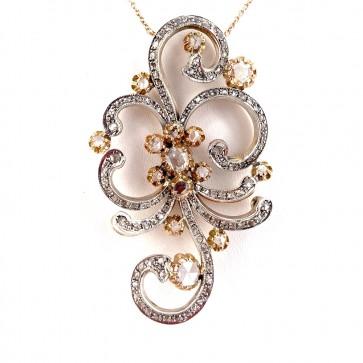 Ciondolo maxi in stile, oro e diamanti