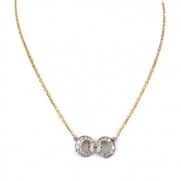 Collana oro bicolore e nodo di diamanti