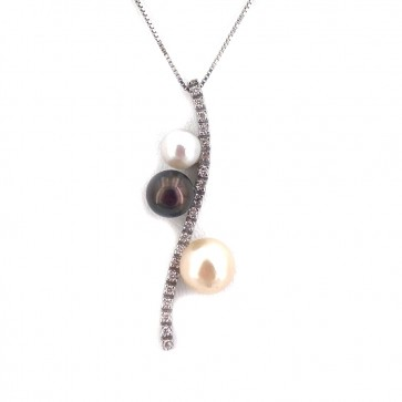 Ciondolo fiammifero oro, perle bianche e nere e diamanti