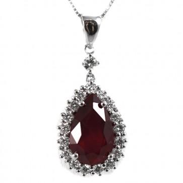 Ciondolo oro, goccia rubino - 6,46 ct - e diamanti -  0,90 ct;