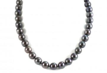 Collana perle d'acqua dolce nere e oro - 47 cm