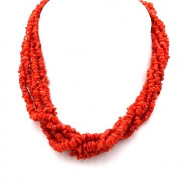 Collana torchon a 5 fili di corallo rosso