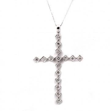 Ciondolo croce, oro e diamanti