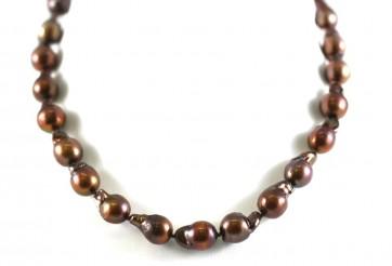 Collana perle baroccate di mare marroni e oro- 45 cm; 64,1 gr