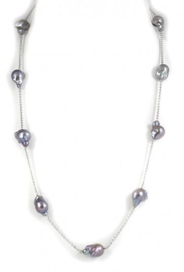 Collana modello catena, oro e perle barocche grey
