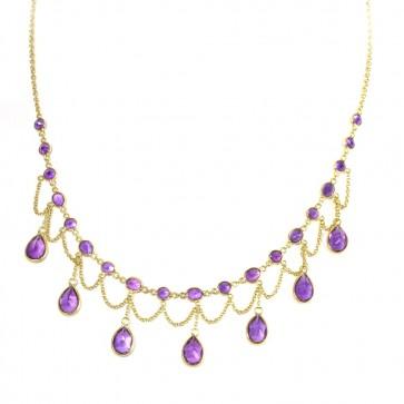 Collana collier oro con gocce di ametista