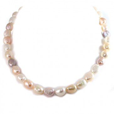 Collana girocollo di perle multicolor baroccate