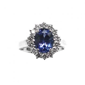 Anello margherita oro diamanti e zaffiro