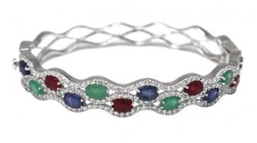 Bracciale rigido argento con radici di smeraldo, zaffiro, rubino e zirconi