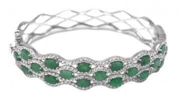 Bracciale rigido argento con radici di smeraldo e zirconi