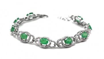 Bracciale argento con radici di smeraldo e zirconi