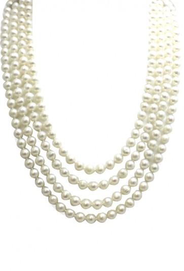 Collana 4 fili perle coltivate e oro