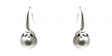 Orecchini oro brillanti e perle tahitiane