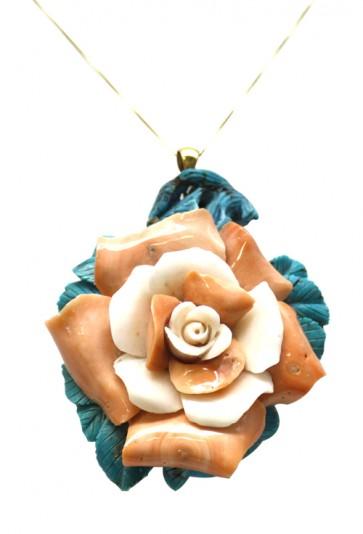 Ciondolo oro, corallo rosa, turchese
