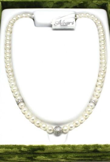 Collana Noari, perle, argento e zirconi
