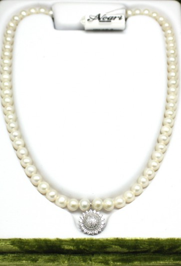 Collana Noari, perle, argento e charm sole zirconi