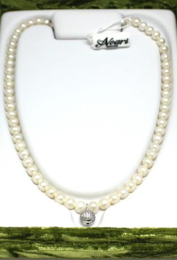Collana Noari, perle, argento e charm boulle zirconi