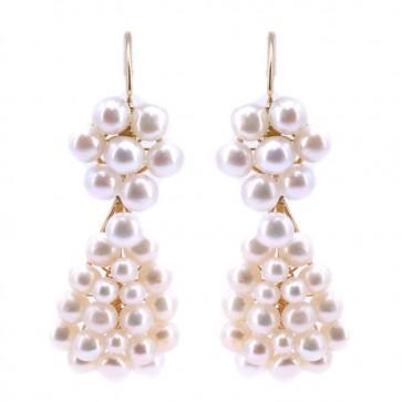 Orecchini pendenti oro e  perle